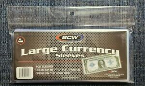 1 Pack - US Large Currency - Paper Money - Bill Protector Soft Sleeves - Large