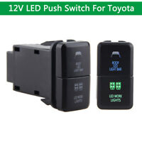 On-Off Push Switch For Toyota Prado Hilux Landcruiser Blue Green LED Button