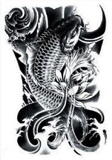 BLACK KOI TEMPORARY TATTOO JAPANESE STYLE CARP FAKE TATOO INDIE BODY ART