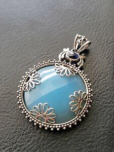 Sajen Offerings Jewelry Chalcedony & Blue Topaz 925 Sterling Silver Pendant