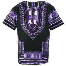 Cotton African Dashiki Mexican Poncho Hippie Tribal Boho Shirt Black ad14v
