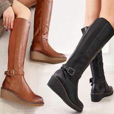 Womens Riding Boots Wedge Low Heel Ladies Zip Buckle Winter Stretch Leg Calf UK