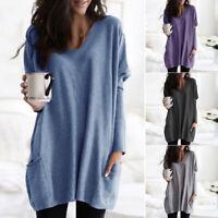 Women V Neck Sweater Jumper Oversized Baggy Long Sleeve Tops Pullover Mini Dress