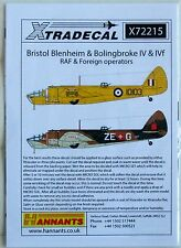 Xtradecal 1/72 X72215 Bristol Blenheim/Bolingbroke Mk IV + IVF Decal set