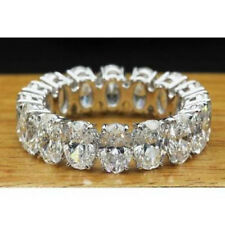 Certified 5.00Ct White Oval Diamond Engagement Eternity Band in 10K White Gold