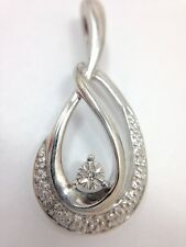 Diamond Accent Drop Dangle Pendant for Necklace Sterling Silver Solid 925 FMGE