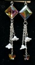 NEW Brilliant Titanium Crystal & made with Swarovski  crystals Dangle Earrings