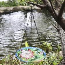 Hummingbird Flower Design Glass Bowl Hanging Bird Feeder Bath Patio Garden Decor