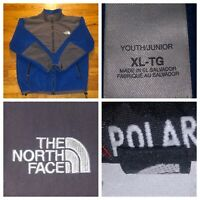 The North Face Junior Youth Girls Blue And Grey Denali Full Zip Fleece Size XL