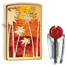 Fusion Palm Tree Sunset Zippo Lighter in Polished Brass 29420 - FREE FLINTS & P&