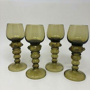 Roemer Wine Glass Goblet Applied Prunts Hollow Stem Olive Green Set of 4