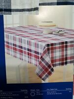 "CELEBRATE AMERICANA 60""×84"" PLAID TABLECLOTH seats 6 to 8 machine washable."