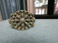 Beautiful Navajo J. Johnson RB Sterling Silver Cluster Turquoise Cuff Bracelet