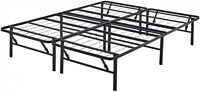 "Platform King Size Bed Frame for Mattress 14"" Foldable Metal Steel Heavy Duty"