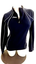 Asics Mujer Negro Poliéster Cremallera Frontal Deportivo Chaqueta de Chándal
