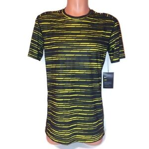 Nike Training Mens Shirt Fitted Black Yellow Athletic Wear Work Out