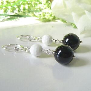 Handmade Black Onyx and White Agate Gemstone Leverback Earrings