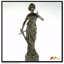 Bronze Sculpture Lady W/ Sword Worrier Statue Signed Preiss