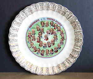 USA Presidents Plate up to Eisenhower History Vintage Mid Century FREE SH