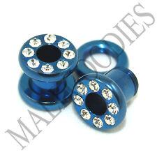 0887 Blue Steel Screw-on/fit CZ Flesh Tunnels 2 Gauge 2G Ear Plugs 6mm