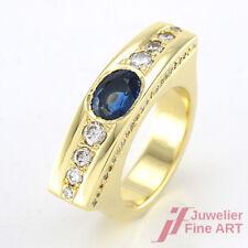 Ring - Handarbeit -14K/585 GG - Brillanten 0,60 ct + 1 ovaler Saphir 1,20 ct -54