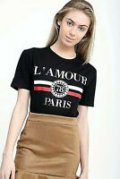 Ladies L'amour Paris Slogan Short Sleeve Womens Printed Round Neck Top T-Shirt