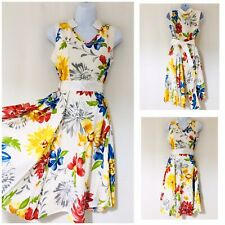 Dress Size 10 Rockabilly Retro 50s Pin Up Tea Dress Defects Swing Floral 1950s