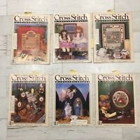 Lot of 6 Cross Stitch & Country Crafts Magazines 1987 Complete Projects Samplers