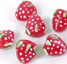 Lampwork Handmade Glass Strawberry Beads 16mm (6)
