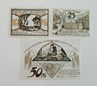 BRÜEL REUTERGELD NOTGELD 10, 25, 50 PFENNIG 1922 NOTGELDSCHEINE (12492)