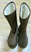 Women's AIRWALK Quilted Chocolate Brown Furry Tall Boots 9.5M