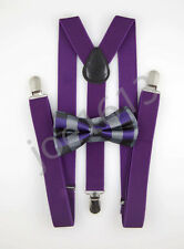 Purple Black Plaid Bow Tie Dark Purple Suspender Mens Adult Combo Set SBTS37