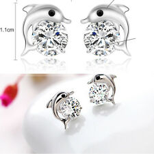 Chic Rhinestone Zircon Dolphin Earrings Studs Crystal Jewelry Fashion And Cute