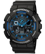 Casio G-Shock Analogue/Digital Mens Black/Blue XL Series Watch GA-100-1A2 GA-100