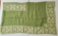 Vintage Frederick & Nelson Seattle Linen Tablecloth Hand Crochet Lace  - Italy