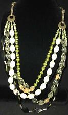 Beads Costume Jewelry Bib Earth Tones Chico'S Fashion Necklace Green Brown Tan