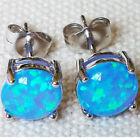 Fashion 925 Sterling Silver Fire Opal Gemstone Stud Earrings Wedding Jewelry Hot