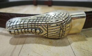 Chicos size S-M adjustable brown leather w silver metal alligator buckle VGC
