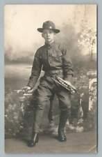 Bugle Boy WWI Antique Photo RPPC Military Uniform CHICAGO Army Postcard 1910s