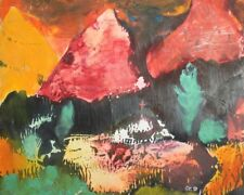 Vintage gouache painting abstract landscape signed