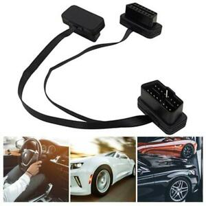 OBD2 16 pin flat noodle male to female elbow extension diagnostic cable US