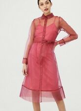 V By Very Organza Tie Waist Dress - Pink Size 16 Rrp £55 Wow Statement Piece