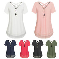 Women's Summer Short Sleeve Blouse T Shirt Tops V-neck Loose Tunic Tee Plus Size