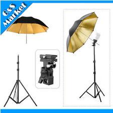 "Light Stand + Flash Bracket B Mount + 33"" Black & gold Umbrella Kit flash kit"