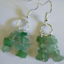 Green stone chip beaded silver tone EARRINGS