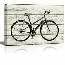 Bicycle/Bike Silhouette Artwork - Rustic Canvas Wall Art Home Decor - 24x36