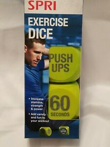 BRAND NEW! SPRI EXERCISE DICE, ADD FUN AND VARIETY TO YOUR WORKOUT, NEON YELLOW