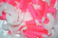 """Item#160 24ct 8/""""Split Purple// Pearl pink ribbon tail Worms soft plastics bait"""