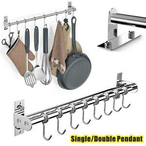 Wall Mounted Kitchen Utensils Pan Pot Hanging Rail Rack 6/8 Hooks Hanger Shelf