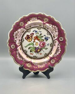 Antique PINK/FUSCHIA Hand-Painted Porcelain Plate W/ Dresden-Style Flowers, Gold